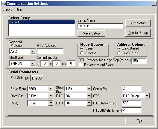 MODBUS-Com-Settings